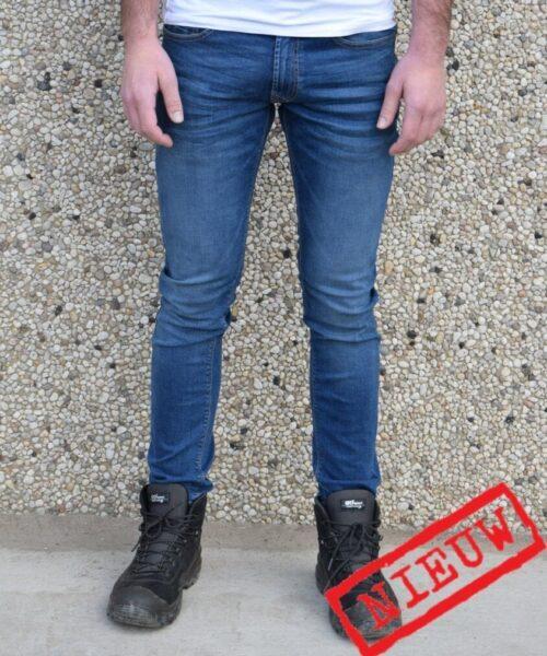 Adam Mid blue skinny werkspijkerbroek voorkant